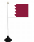 Qatar Desk / Table Flag with plastic stand and base.